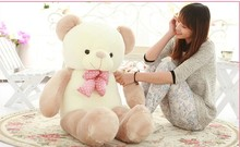 big lovely new plushed Teddy bear toy stuffed light brown teddy bear with bow birthday gift about 140cm
