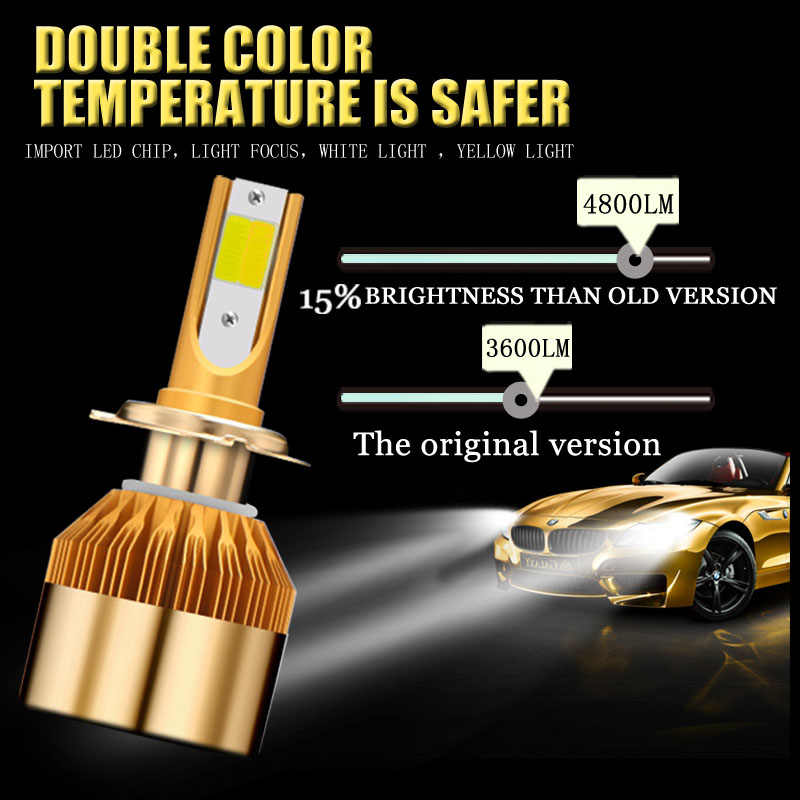 36W COB led H7 H1 9006 H8 H9 H11 H3 H4 9012 cs 880 881 9005 9003 3000K/4300K/6000K Car headlight bulb 12V 24V 4800LM