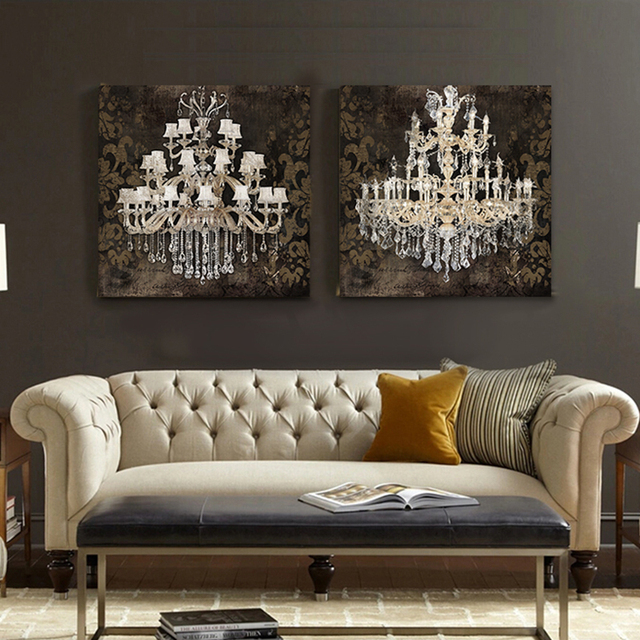Modern Wall Art Posters And Prints Still Life Painting Canvas Crystal Chandelier Pattern Retro Living