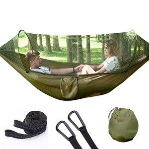 Image 2 - VILEAD hamac dépliable automatique avec moustique Stable ultra léger Portable randonnée chasse Camping lit de couchage lit 290*140 cm