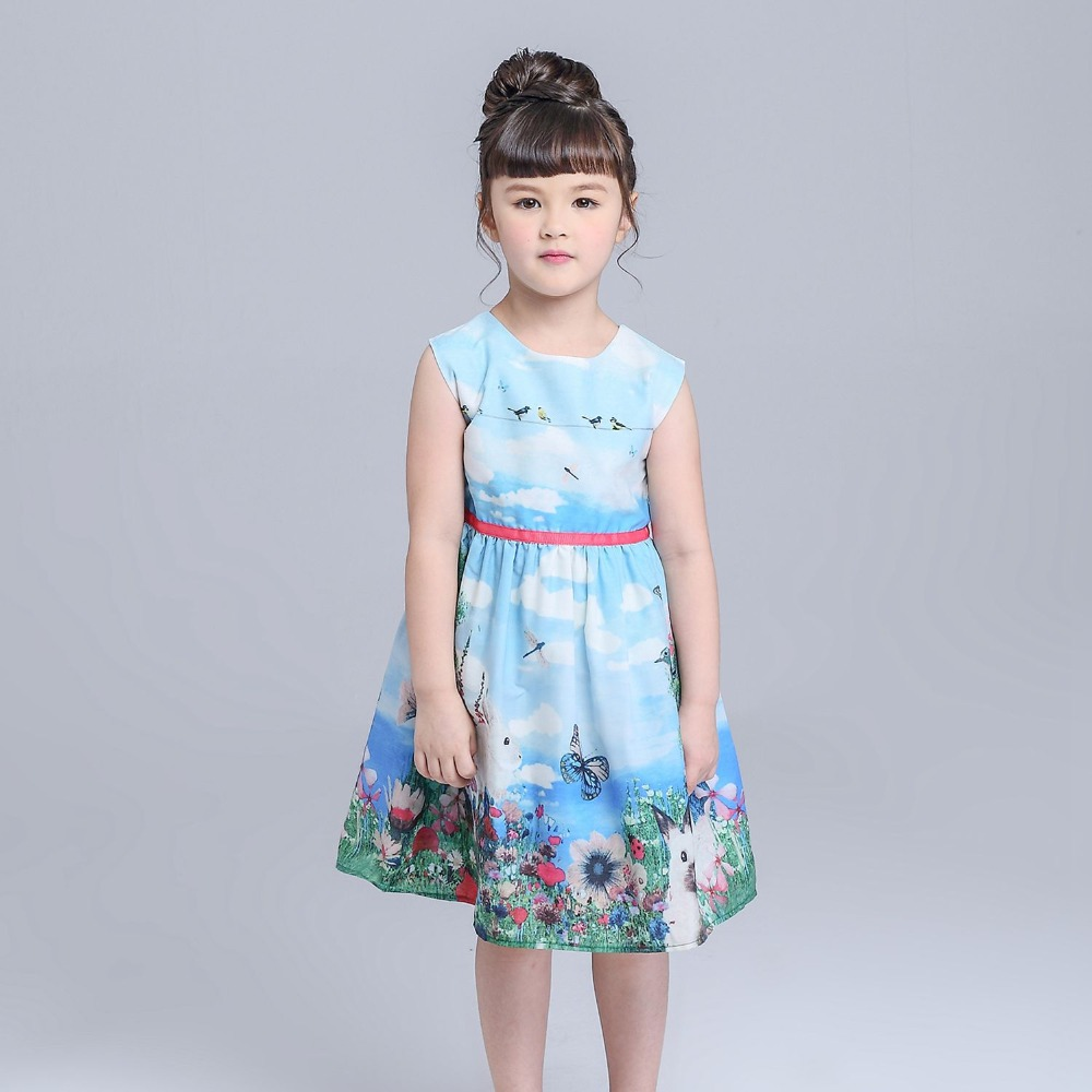 (suport drop shipping) Alice in Wonderland dress baby girl clothes bunny printed dress hot sale dress for girls