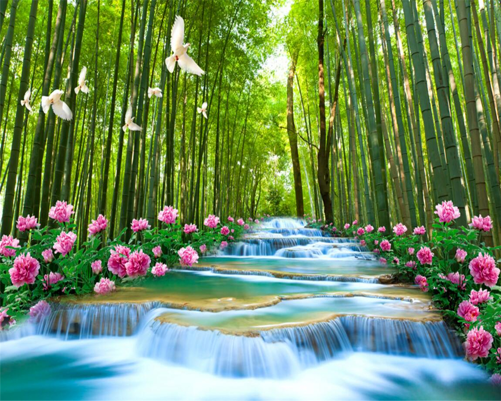 US $8 85 OFF Beibehang Custom 3D Forest Flowing Water Bamboo Forest Waterfall Photo Wallpaper Landscape Landscape Living Room Wallpaper Photo