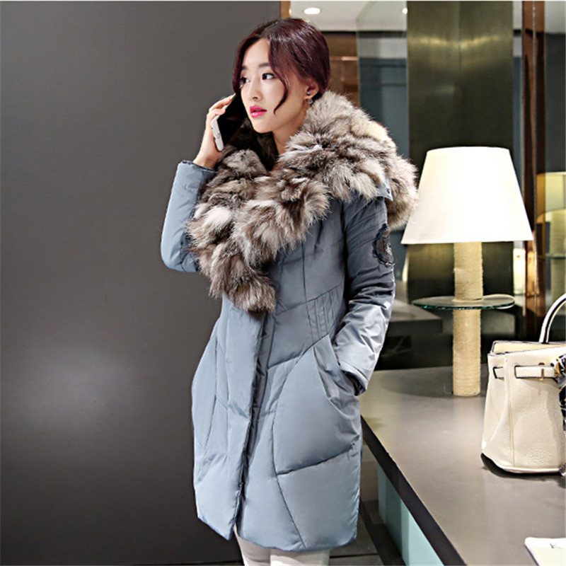 Winter Jacket Women Big Raccoon Fur Collar 2016 women coat new winter down cotton thick warm pockets casual fashion coat faux rabbit fur brown mr short jacket sleeveless with big raccoon collar fall coat