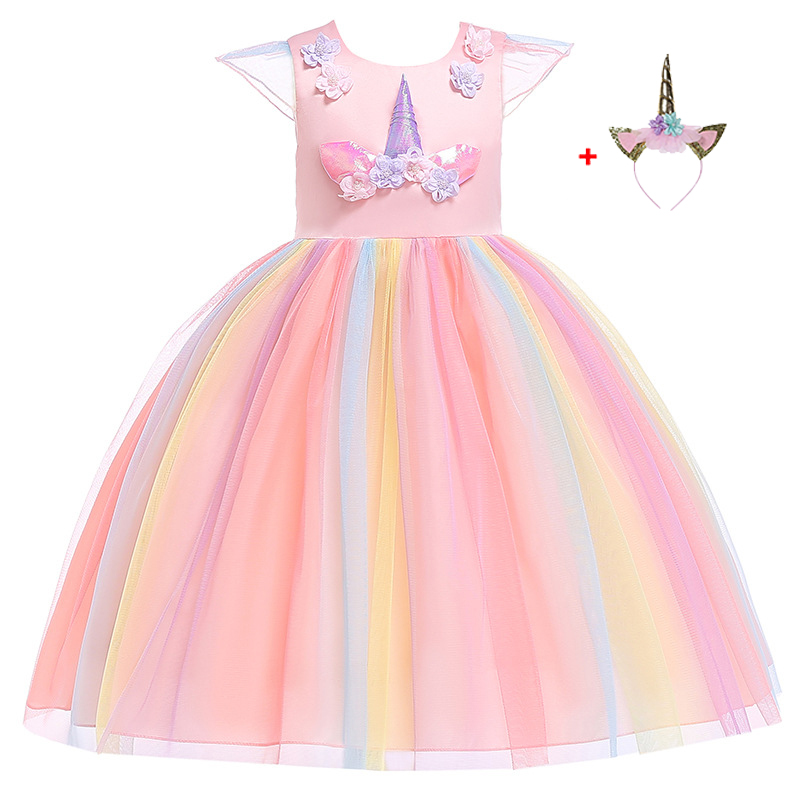 Girls Unicorn Tutu Dress Rainbow Princess Kids Party Christmas Halloween Pony Cosplay Costume 2019