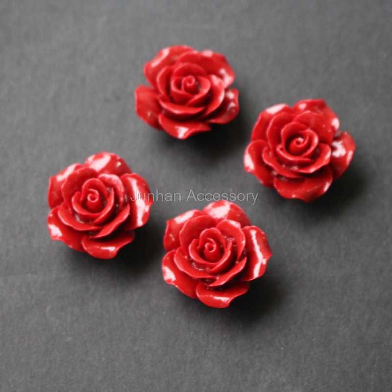 5Pieces 25mm Camelia Synthetic Coral beads Large Coral flower beads Cabochon Red color for Jewelry making