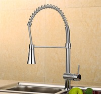 Hot Sell Spring Pull Out Kitchen Sprayer Faucet Brass Material Modern Chrome Design Hot And Cold