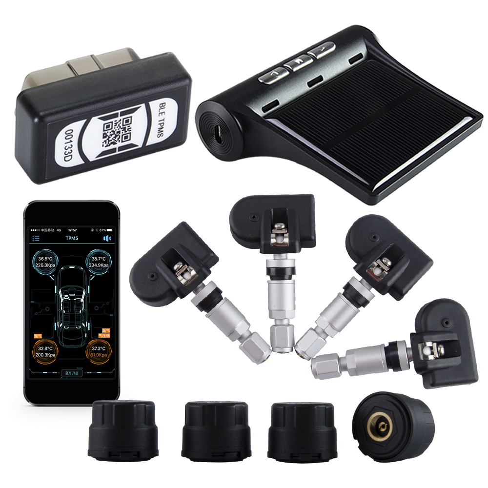 Viecar Auto Sistema di Allarme di Monitoraggio Della Pressione Dei Pneumatici TPMS Bluetooth APP OBD Display LCD Pneumatico Interno/Esterno Sensore IOS Android
