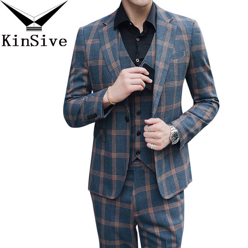 Nieuwste Jas Broek Ontwerpen Klassieke Plaid Pak Luxe Mannen Wedding Suits Voor Mannen 3 Stukken Formele Smoking Party Business Mannen pak Set