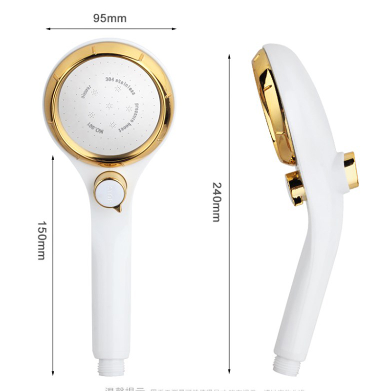 ZhangJi Large Panel ABS Shower Spray Nozzle Handhold Shower head Water Saving High Pressure Stepless Adjustable Button Rotating