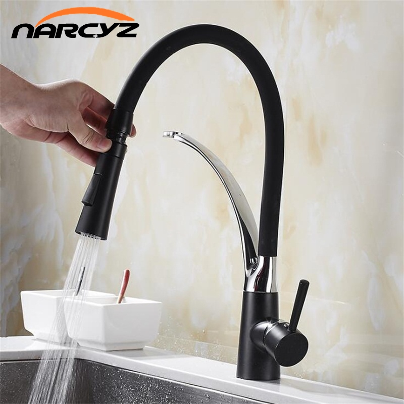 Kitchen Mixer Sink Faucet Brass Red with Black Black Torneira Tap Kitchen Faucets Hot Cold Deck