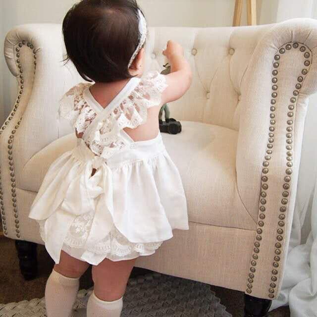 2016 do bebê meninas vestido + Briefs bonitos do bebê roupas de menina infantil princesa branco vestidos de aniversário vestidos roupa do bebê frete grátis
