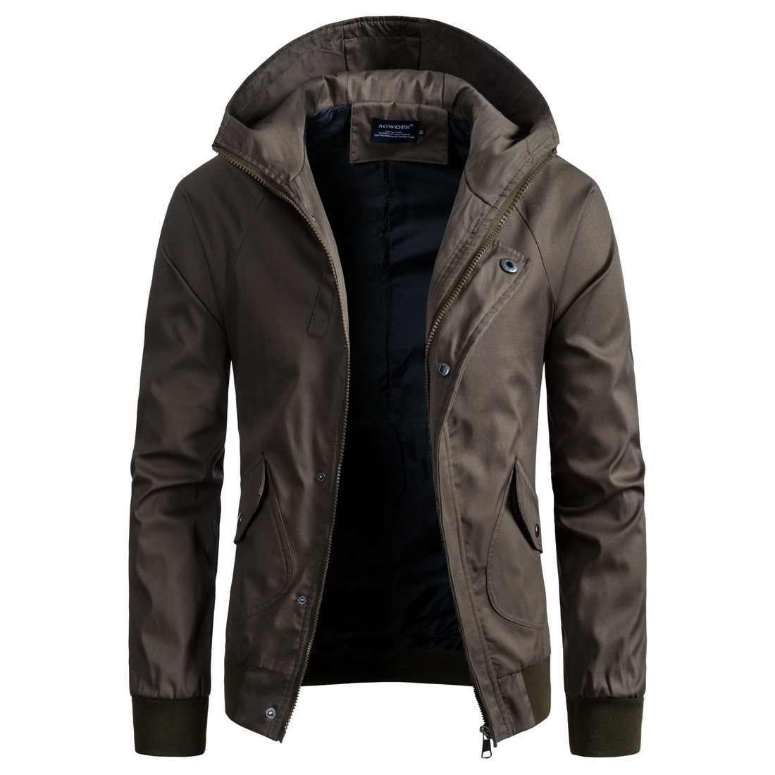 08f0885d526 Для мужчин Повседневное куртка с капюшоном пальто осень-зима Мужская мода  промывают ветровка Брендовая верхняя