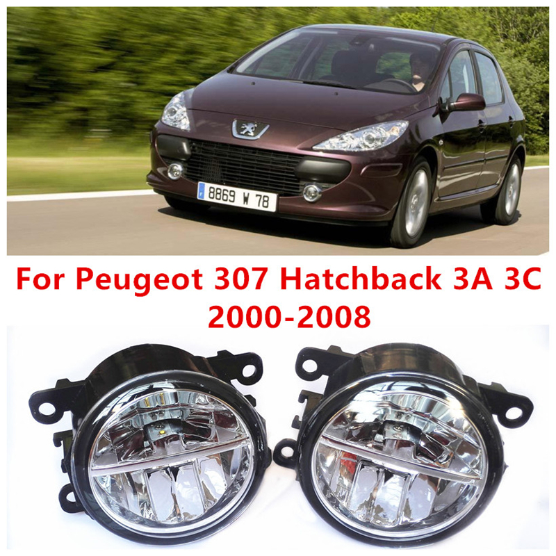 ФОТО For Peugeot 307 Hatchback 3A 3C  2000-2008 10W Fog Light LED DRL Daytime Running Lights Car Styling lamps
