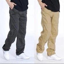 Мужские повседневные брюки размера плюс, мужские военные комбинезоны, длинные брюки из хлопка, мужские армейские тактические брюки с несколькими карманами, брюки-карго для бега