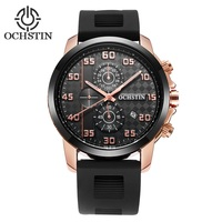 OCHSTIN Luxury Brand Multifunction Quartz Watch Male Silicone Band Mens Gifts Analog Sports Wristwatches For Mens