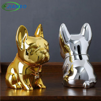 Exquisite Bulldog Resin Piggy Bank Smooth Delicate Texture Money Box Cute Curious Puppy Coin Collect Excellent