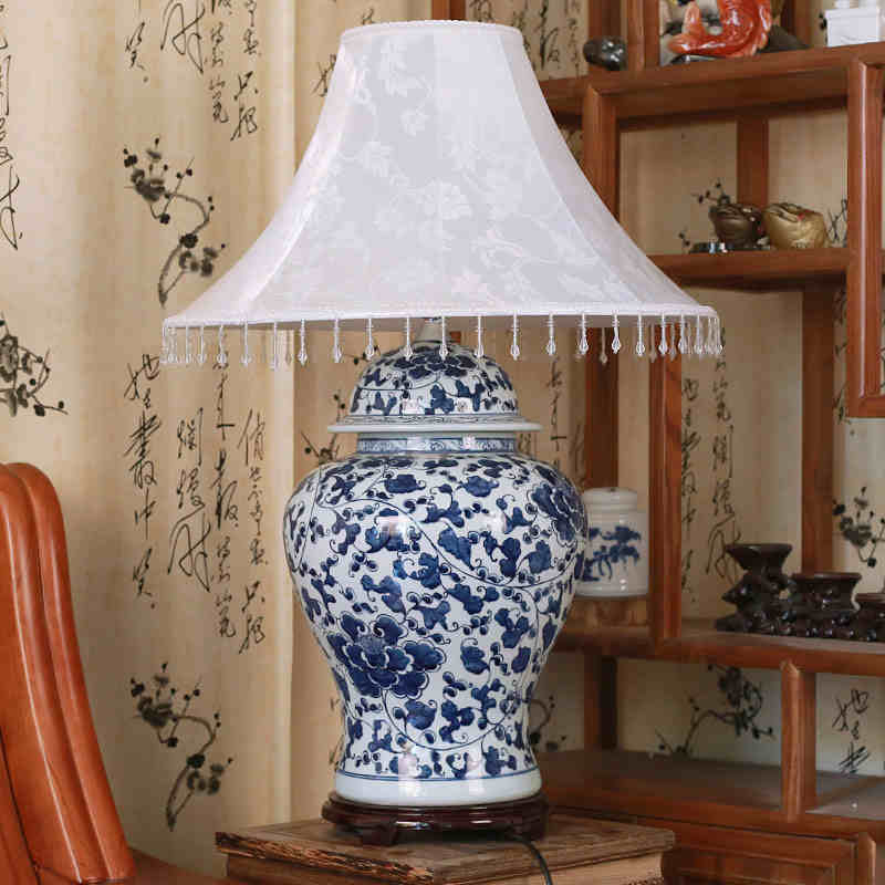 Jingdezhen Vintage Style Porcelain Ceramic Desk Table Lamps For Bedside  Chinese Blue And White Porcelain Old Table Lamp Blue In Table Lamps From  Lights ...