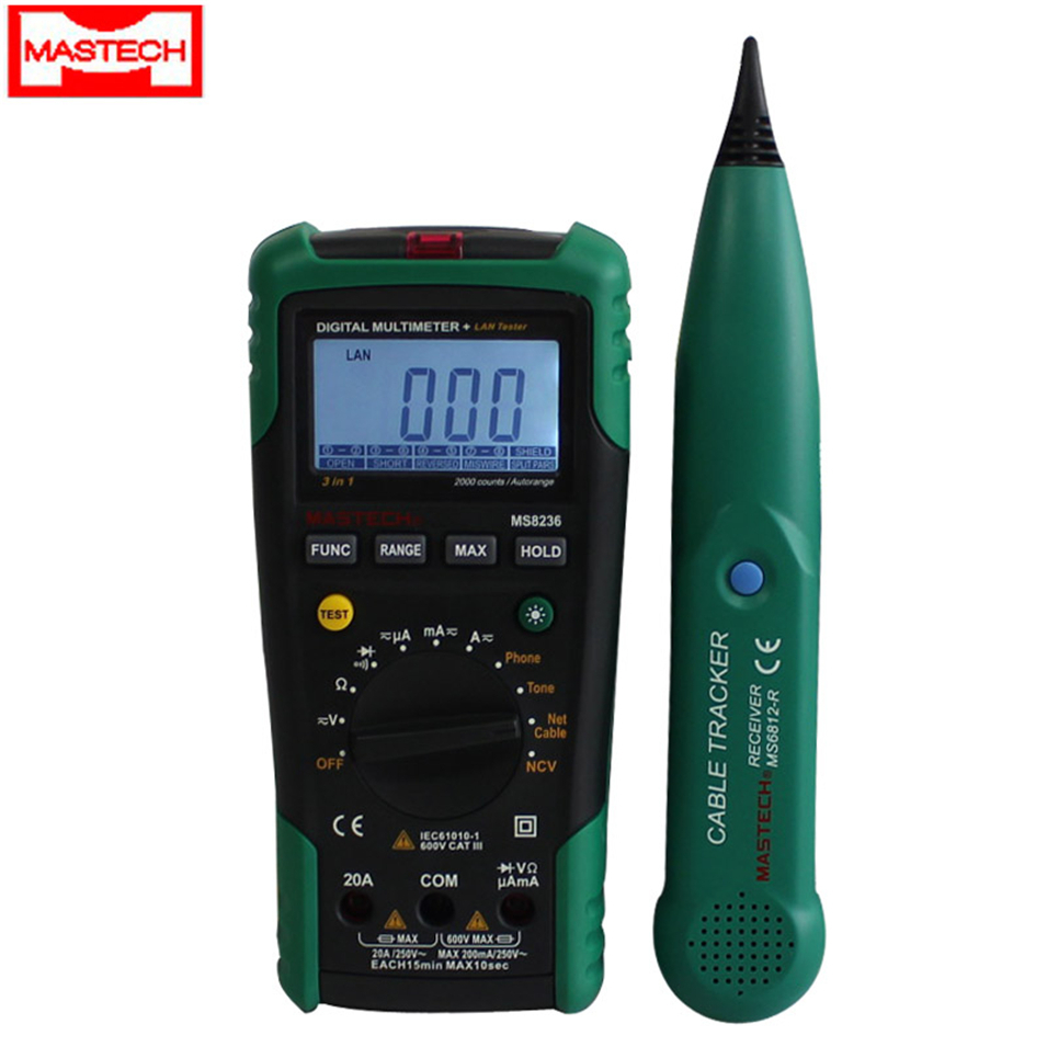 MASTECH MS8236 Digital Multimeter Netwoek Cable Tester Net Cable Tracker Tone Telephone line Check Non-contact Voltage Detect 1 pcs mastech ms8269 digital auto ranging multimeter dmm test capacitance frequency worldwide store