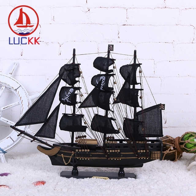 LUCKK 50CM Wooden Black Pearl Pirate Sailing Boat Model Home Interior Desk Decoration Wood Crafts Caribbean Marine Ship Figurine