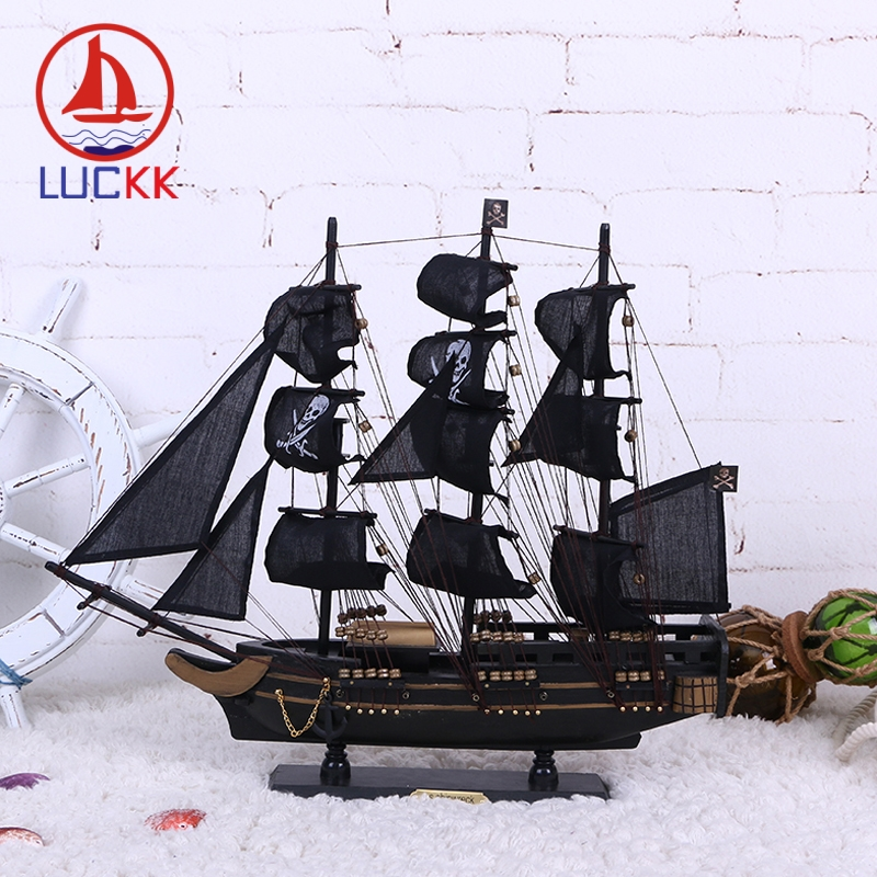 LUCKK DIY 50 см черная Пиратская деревянная парусная лодка модель корабля домашние поделки для декорирования интерьера море стиль игрушки парусная модель классика-in Статуэтки и миниатюры from Дом и животные