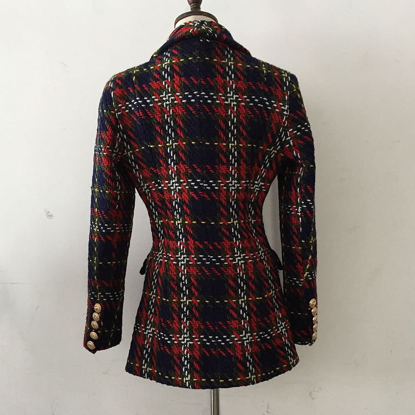 Chic women double breasted tweed coat 2018 Autumn winter buttons plaid jackets coat D711 in Jackets from Women 39 s Clothing