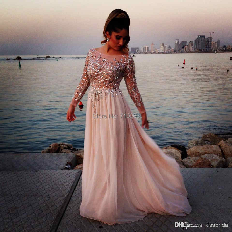 2017 Elegant Crystal Beaded Prom Dresses Sheer Scoop Neck Long Sleeve A-Line Chiffon Evening Gown Pageant Dress Vestido de festa