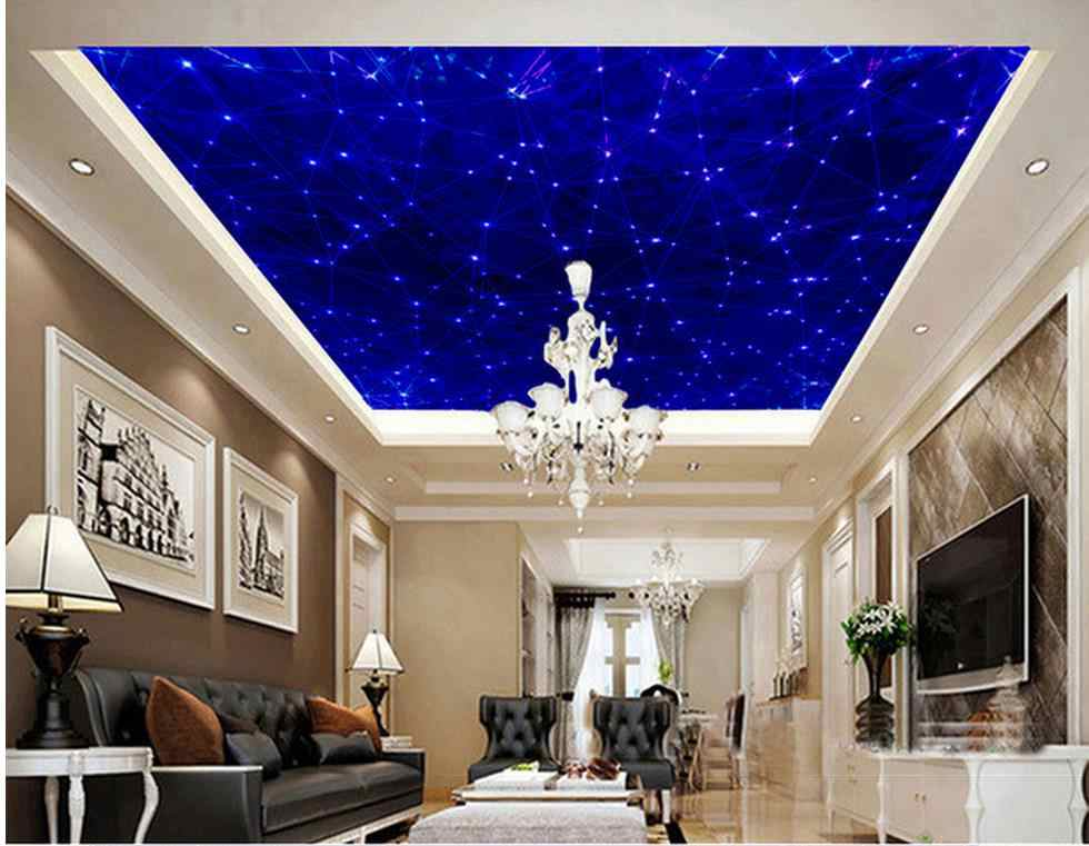 3d customized wallpaper Home Decoration Blue ceiling murals 3d ceiling murals wallpaper ceiling wallpaper