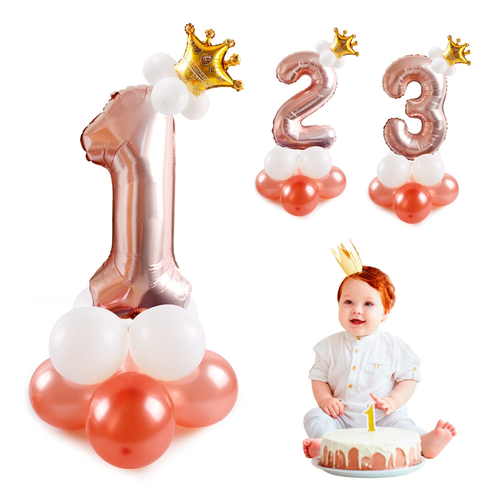 QIFU 17Pcs Number Air Baloon Birthday Balloons Birthday Party Decorations Kids Foil Ballon Figures Baloon Balls Babyshower in Ballons Accessories from Home Garden