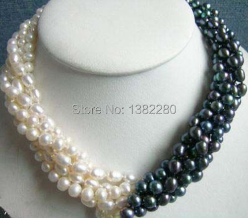 New Arrival 5rows 7 8mm White&black Pearl Necklace Chain 18inch Women Girl Fashion Jewelry Design Make Wholesale Price JT5587