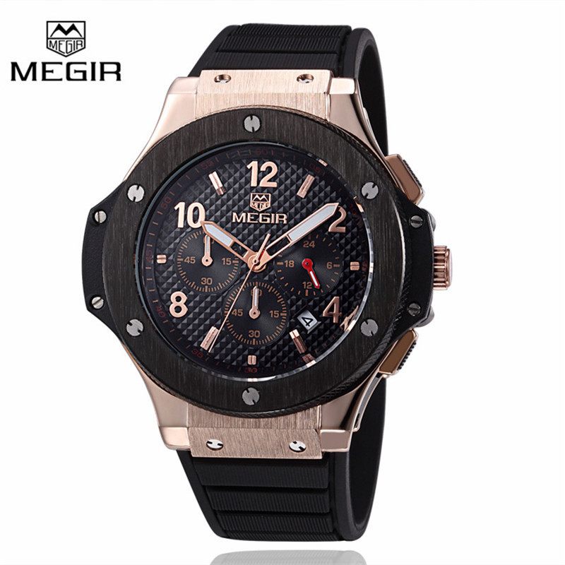 Megir Sport Quartz Clock Mens Watches Top Brand Luxury Chronograph Quartz-watch Silicone Gold Male Wristwatch Relogio Masculino oulm mens designer watches luxury watch male quartz watch 3 small dials leather strap wristwatch relogio masculino