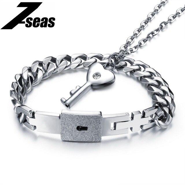 famous couple jewelry lock key design men bracelet women