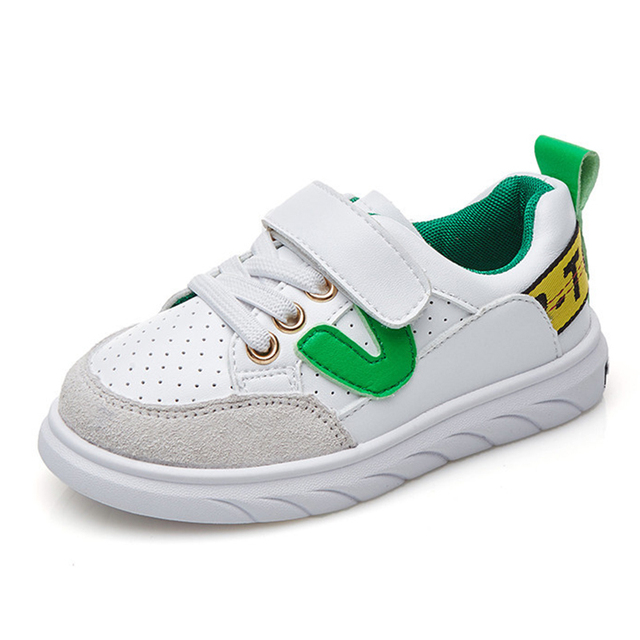 Children Sneaker V Letter Kids Girls Genuine Leather Sports Shoes Fashion  Soft Comfortable Lace up Boys Shoes For Students fa584bbd2e97