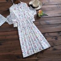 Fall Clothes 2017 New Autumn Winter Dress Women Full Sleeve Floral Print Corduroy Dresses Mori Girl