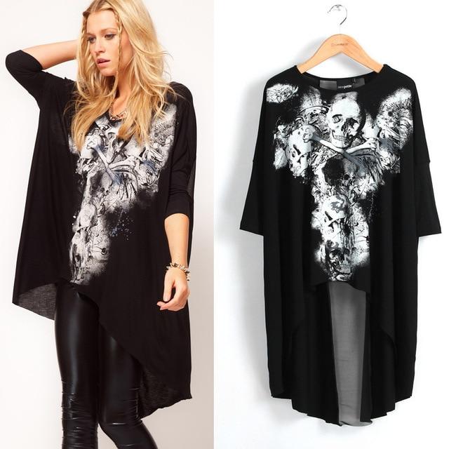 British Brand Women S Love Avant Garde Style Skull T Shirt Loose Plus Size
