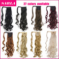 "10pcs/lot 20"" Curly Wavy Synthetic Ponytail Hair Extensions Wrap Drastring Hairpieces Clip In Hair Ponytail Extensions P002"