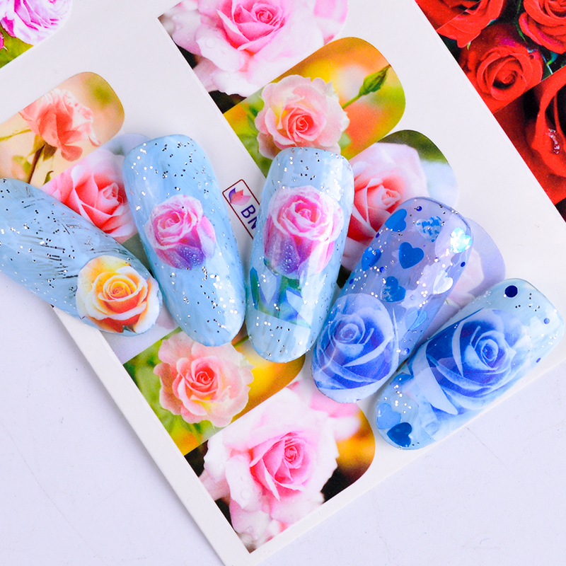 12 Designs Water Transfer Nail Sticker Mixed Flower Rose Red Designs Full Wraps Charming Decals DIY Decor Manicure SABN553-564 60 50mm 2000 sheets per roll single row thermal transfer adhesive paper can customize use sticker printer empty shipping label