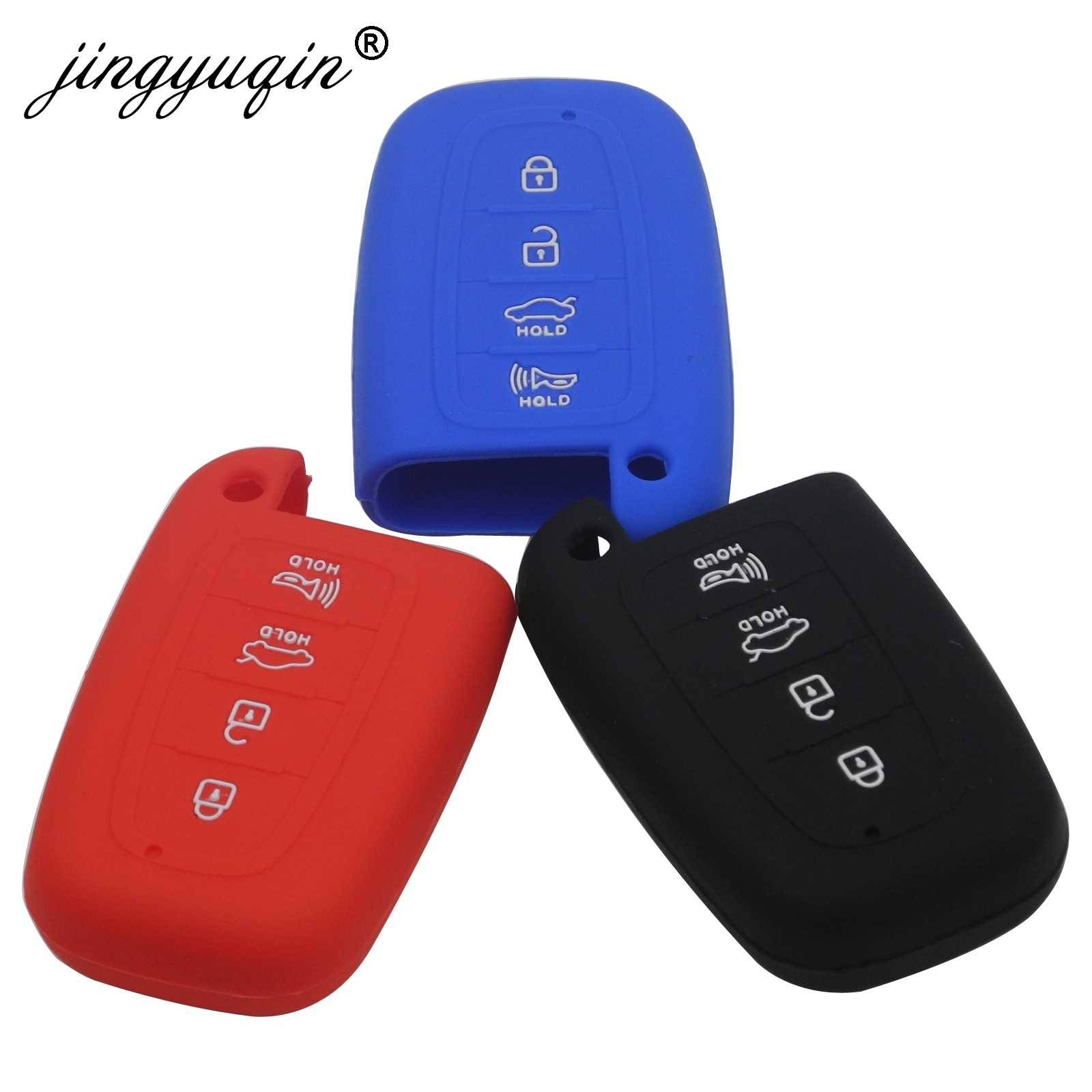 Jingyuqin 4 Button Silicone Key Case For HYUNDAI Elantra Sonata Veloster For Kia Soul Sportage Car Remote Smart Fob Cover
