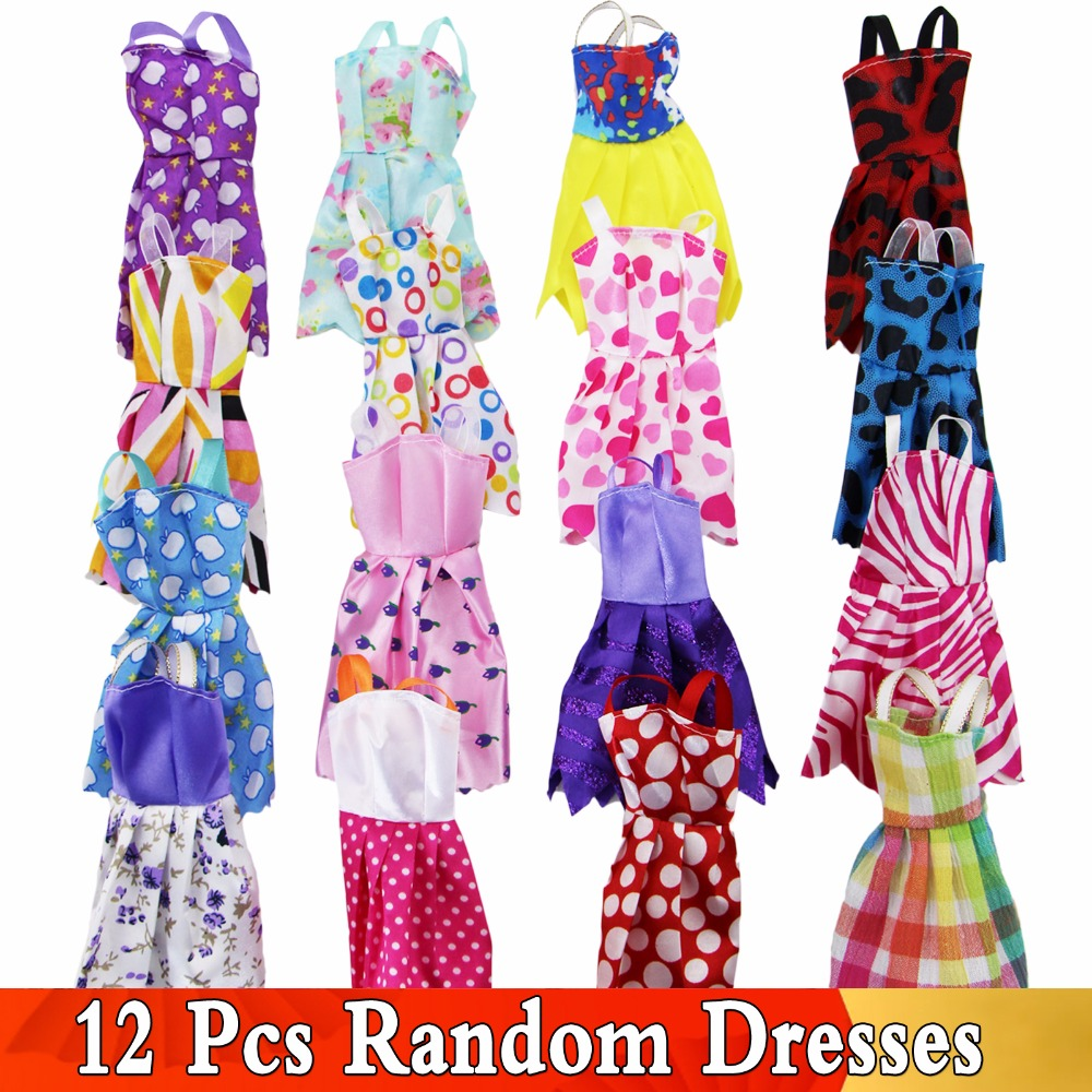 Random 12 Pcs Fashion Colorful Mix Mini Dresses Party Wedding Wear Beautiful Handmade Skirt For Barbie Doll Accessories