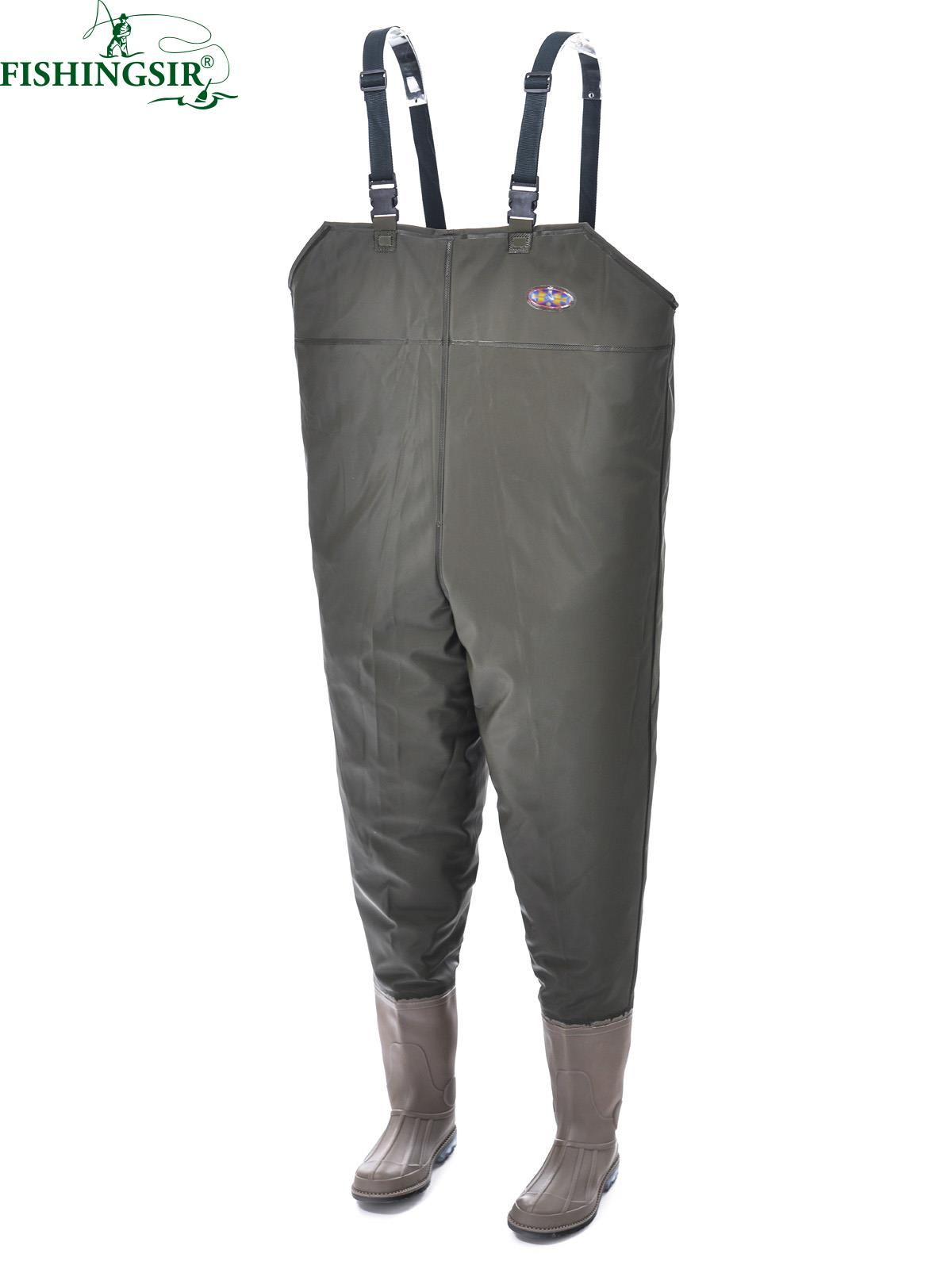 New Rubber Boot Foot Fly Fishing Waders Chest Wader Waterproof Hunting Ice Fishing Overalls Winter Working Clothes , Size 7-11.5