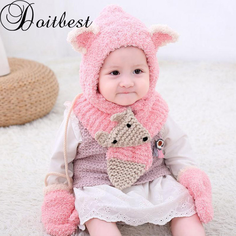 Doitbest 6 Months To 3 Years Old Cartoon Fox Beanies Hats Sets Wool Kids Soft Winter 3 Pcs Baby Boys Girl Scarf Hat Glove Set