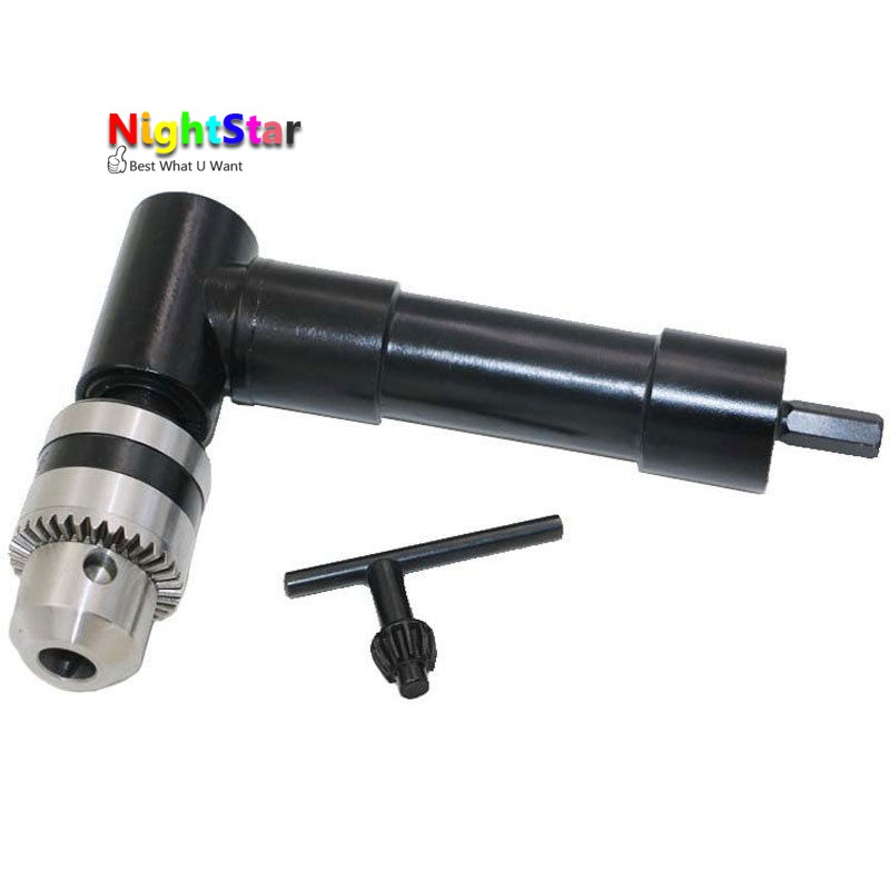 Electric 90 Degree Angle 8mm Hex Shank Chuck Self Drill Adapter 1-10mm+Key Cordless Drill Attachment Angle Adaptor MAX/ 25N*m 10mm variable speed electric drill for angle 380w hand drill 90 angle electric drill 0 1400rpm right angle hand electric drill