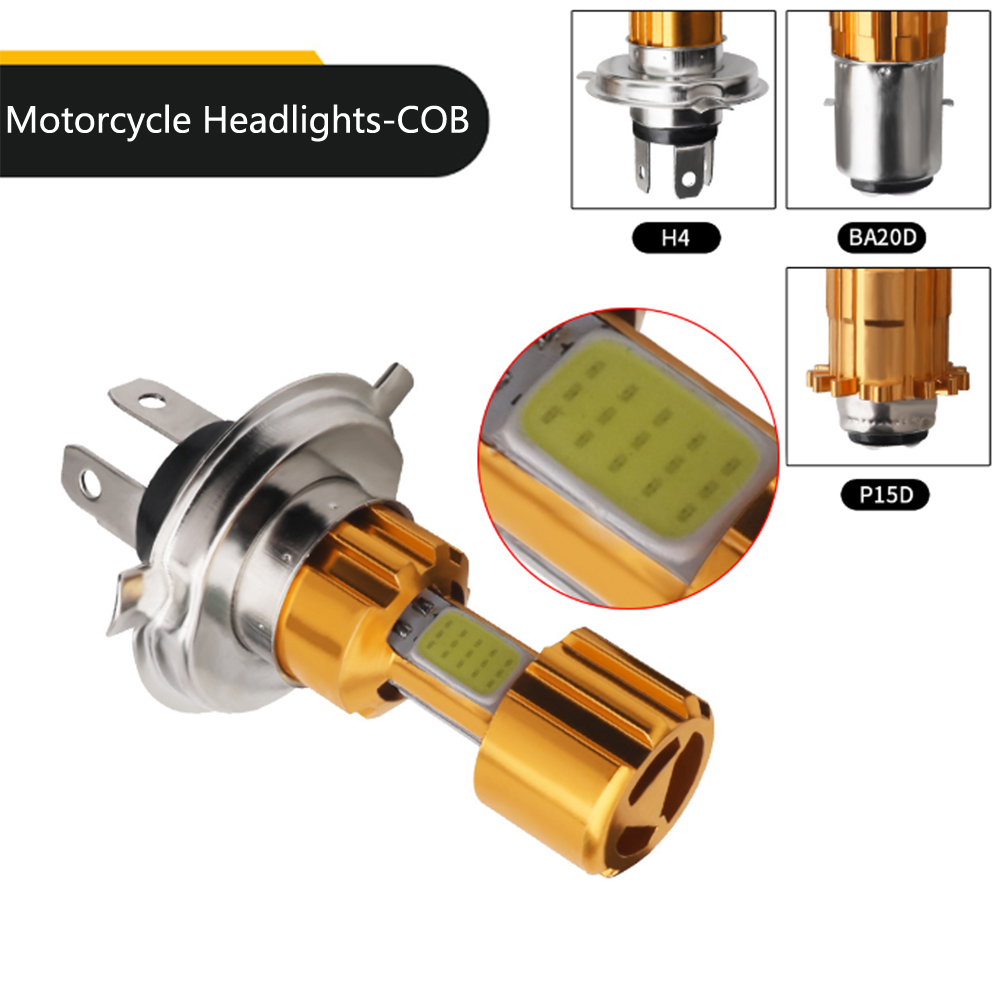 1Pcs Super Bright COB LED Motorcycle Headlight H4 BA20D P15D High Low Beam Light White Motorbike Head Lamp Bulb