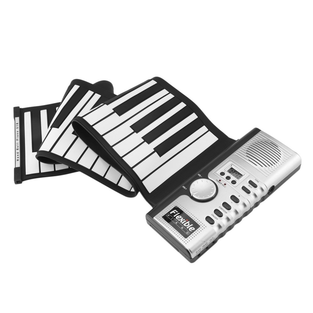 лучшая цена 61 Keys 128 Tones Roll Up Electronic Piano Keyboard Portable Digital Keyboard Piano Flexible Rechargeable Musical Instrument New