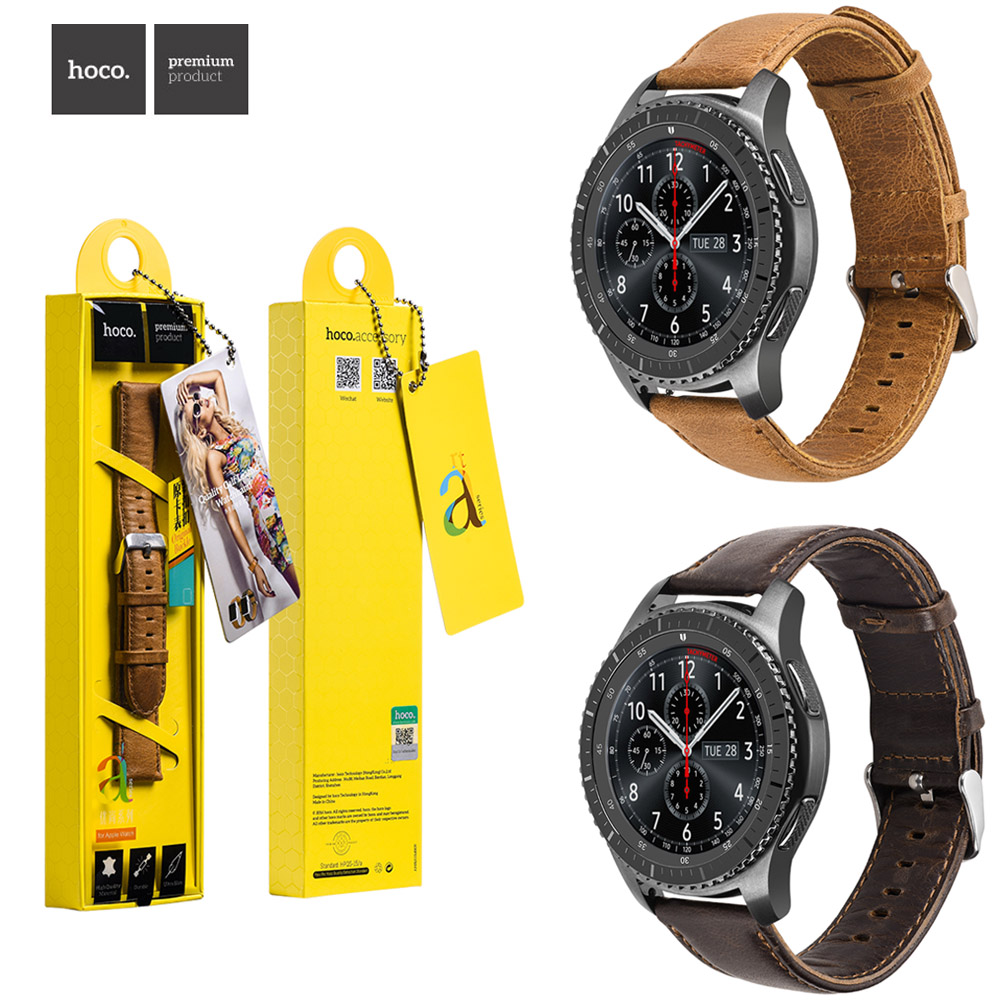 HOCO Duke Genuine Leather Strap for Samsung Galaxy Gear S3 Frontier Band Bracelet for Samsung Gear S3 Classic Wristband 22MM Щипцы