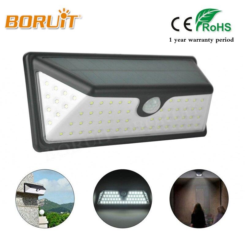 BORUIT 73 LED Night Lighting Waterproof Solar Lights Wide Angle LED Solar Lamp Outdoor Garden Emergency Wall Solar Lampion Hot
