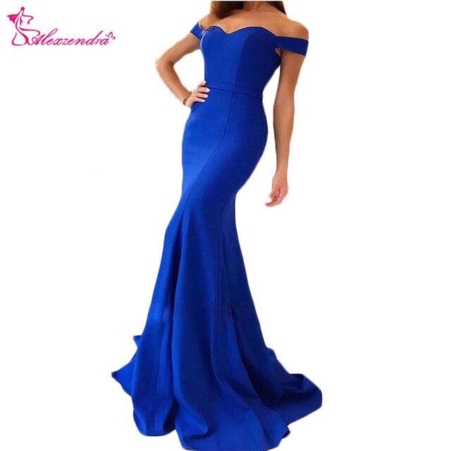 Alexzendra Sweetheart Off the Shoulder Royal Blue Mermaid Prom ...