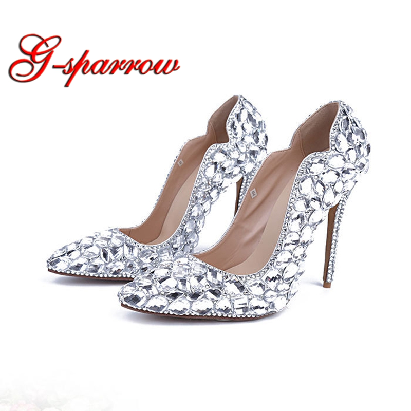 2019 New Handmade High Heel Pointed Toe Women Pumps Glass Crystal Banquet Shoes  Wedding Party High Heels Cinderella Prom Shoes cf6f517450d0