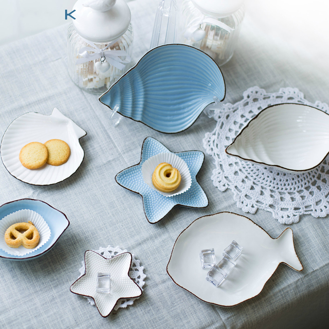 Creative tableware white seafood dishes ceramic butter plate dinner plates white porcelain tray dinner fish shaped & Creative tableware white seafood dishes ceramic butter plate dinner ...