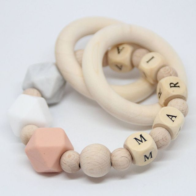 Let S Make 1pc Baby Silicone Teether Personalised Chew Beads Nursing Bracelet Sensory Chewing Toy Children