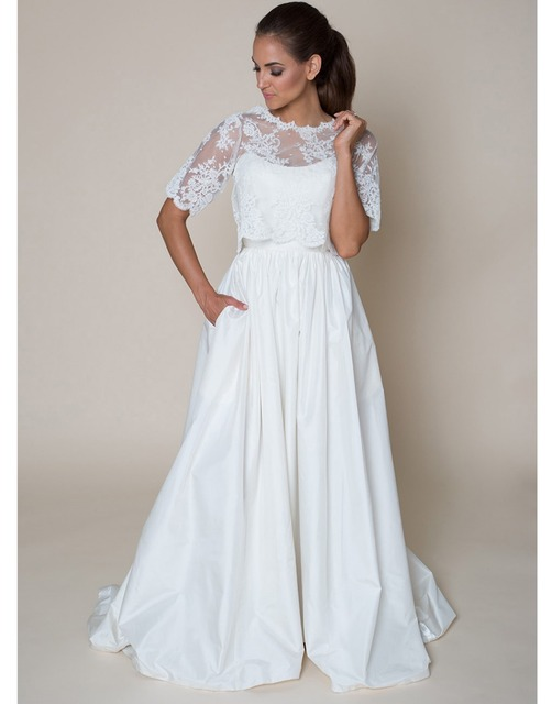 vintage a line wedding dress beach bohemian with pockets with jacket ...